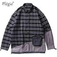 Plegie フロントジッパーポケットパッチワークチェック柄長袖シャツ 2019 男