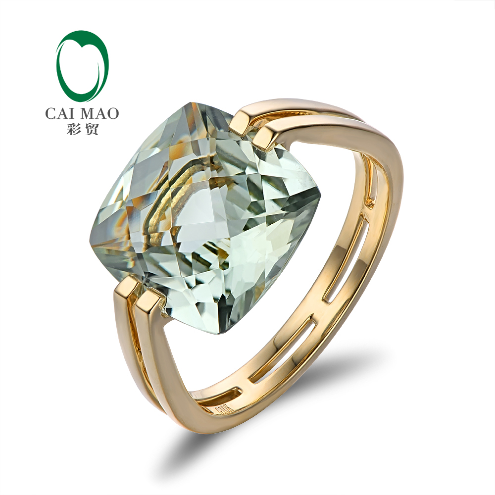 Caimao Jewelry 6 6ct Natural Square Cushion Green Amethyst 14k Gold Ring Free Shipping