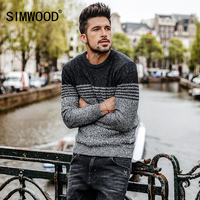 SIMWOOD 2017 Brand Sweater Fashion Causal Striped Sweaters Men Cotton Cable Knit Sweater O Neck Casual