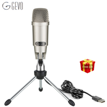 GEVO C-330 USB Microphone For Computer Professional Wired Studio Condenser Mic For Karaoke Pc Video Recording With Stand Tripod цены онлайн