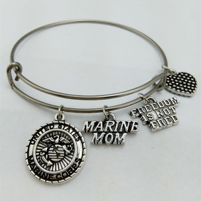 United States Marine Mom Stainless Steel Expandable Wire Bangle