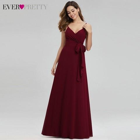 Ever Pretty Elegant Burgundy Bridesmaid Dresses Long A-Line V-Neck Spaghetti Straps Long Wedding Guest Dresses Vestido Madrinha Islamabad