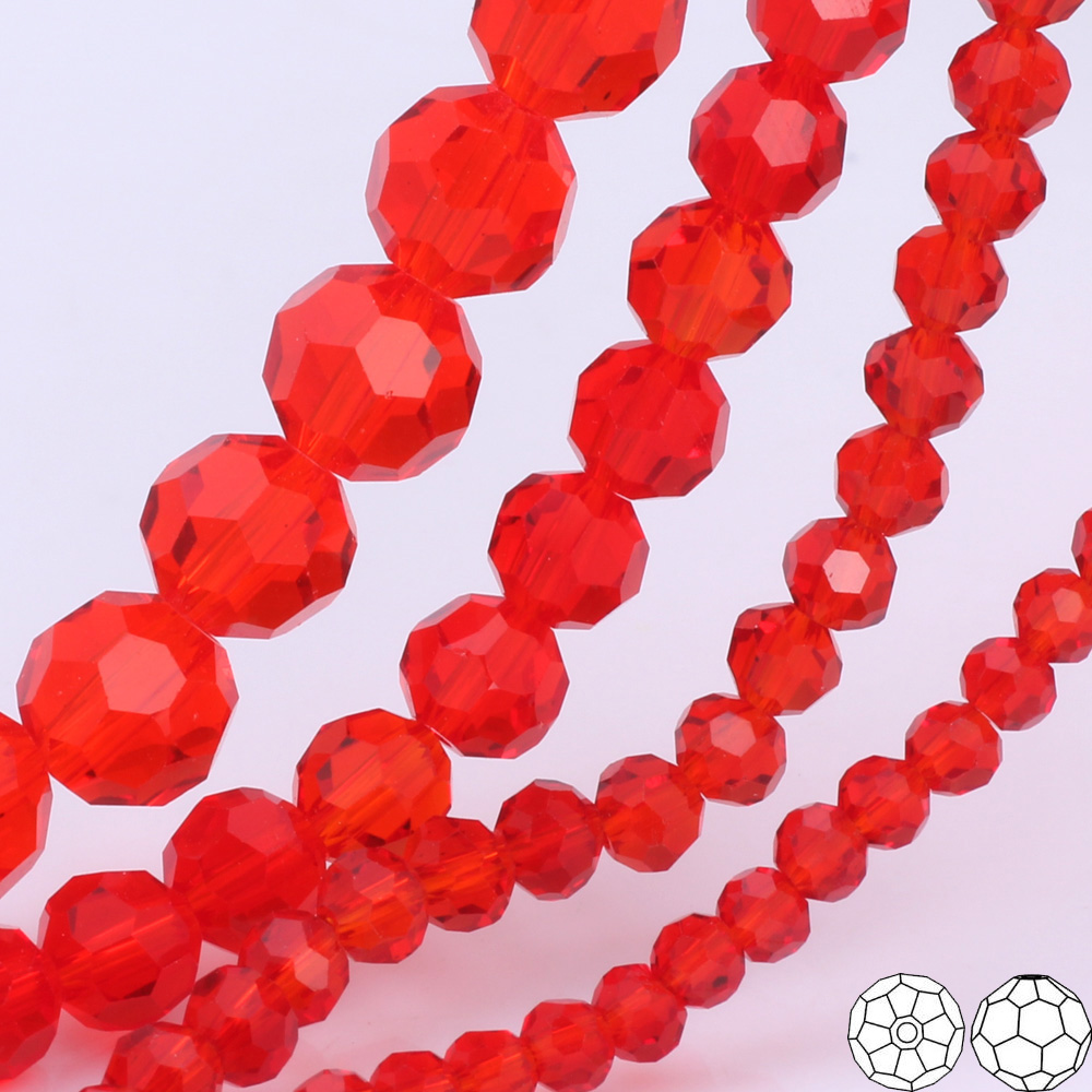 OlingArt 3/4/6/8mm Round Glass Beads Rondelle Austria 32 faceted crystal Red color Loose bead DIY Jewelry Making