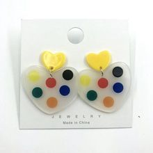 Geometric Heart Round Square Earrings Korean Fashion Acrylic Dot Women