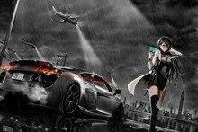 anime sexy girls super car monochrome raining night EA104 living room home wall modern art decor wood frame fabric posters