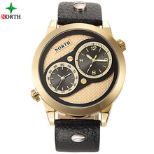 Luxury brand north Dual Time Display Men's Sport Watch Leather Waterproof Fashion Casual Men quartz WristWatch relogio masculino