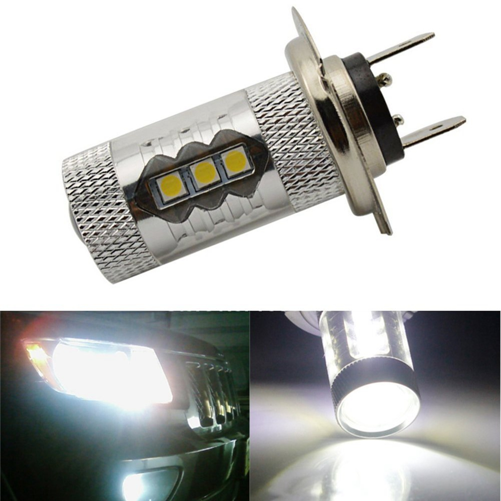 1Pcs Super Bright H7 Fog Light Driving Light Daytime Running Light DRL Bulbs DC12V 6000K White Car Led Lamps For DRL 2pcs h3 fog light car daytime driving running bulbs replacement 80w 6000k bright led headlights bulb lamps auto parts