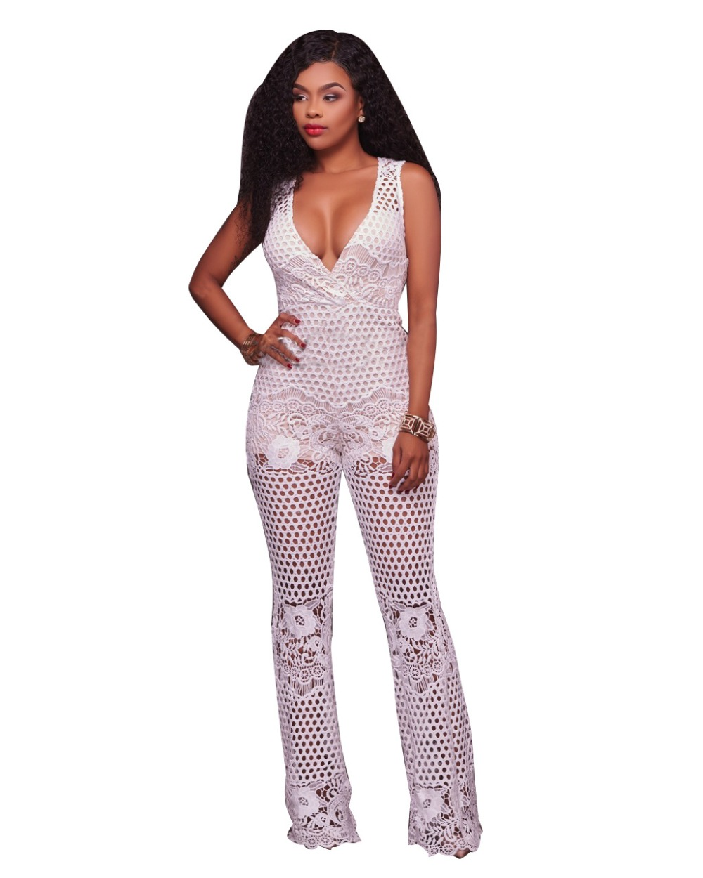 Floral Print Lace Crochet Translucent Overalls Black White V Neck See Through Back Zipper Club Jumpsuit Enteritos Mujer