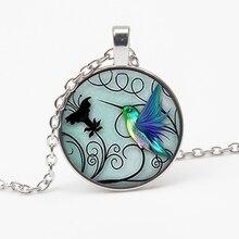 New blue hummingbird pattern necklace crystal bird decoration crystal cabochon sweater chain charm personality pattern pendant недорого