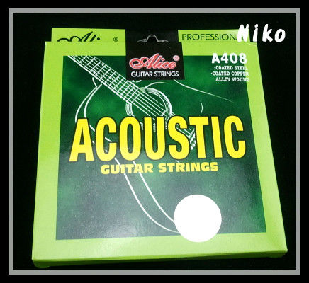 Alice A408-L Acoustic Guitar Strings Coated Copper Alloy Wound Strings 1st-6th Strings Free Shipping Wholesales