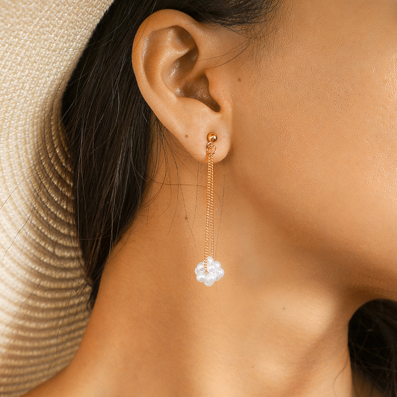 docona Trendy Gold Color Pearl Floral Long Pendant Earring for Women Girl Long Tassel Drop Dangle Earrings Pendientes 3936