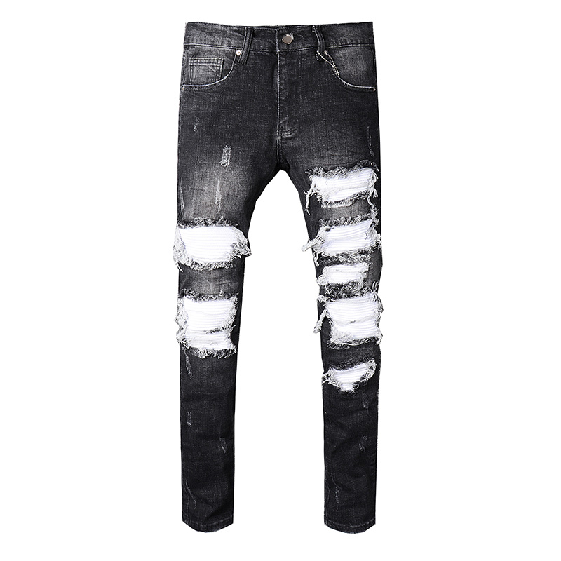 New arrive 2018 Men's Distressed Ribbed White Patches Stretch Moto Pants Black Denim Biker Jeans Slim Trousers Size 28-42 men s casual pleated stretch denim biker jeans for moto pockets cargo pants slim long trousers