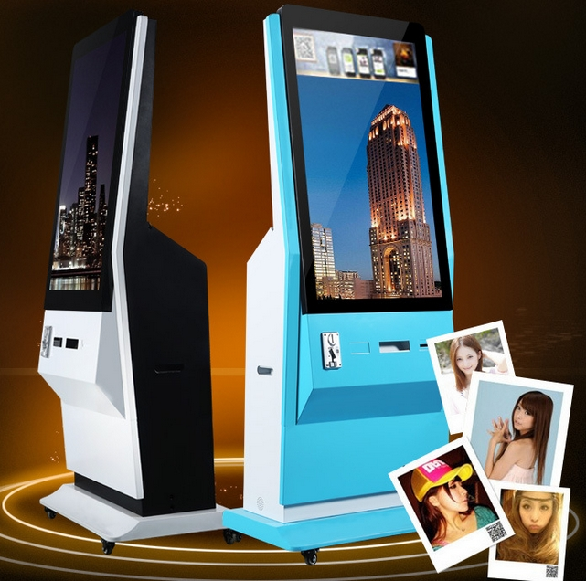 46 Inch 42 Inch Floor Standing Kiosk LCD Advertising Display With Photo Printer