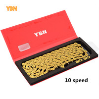 YBN gold chain mountain bike XC road bike 10/11 speed Ultralight chain for MTB 10 11 speed chain gold reduction parts