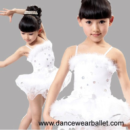 Size 110cm-150cm Yellow Pink White Sequin Feather Girls Ballet Dress For Children Kids