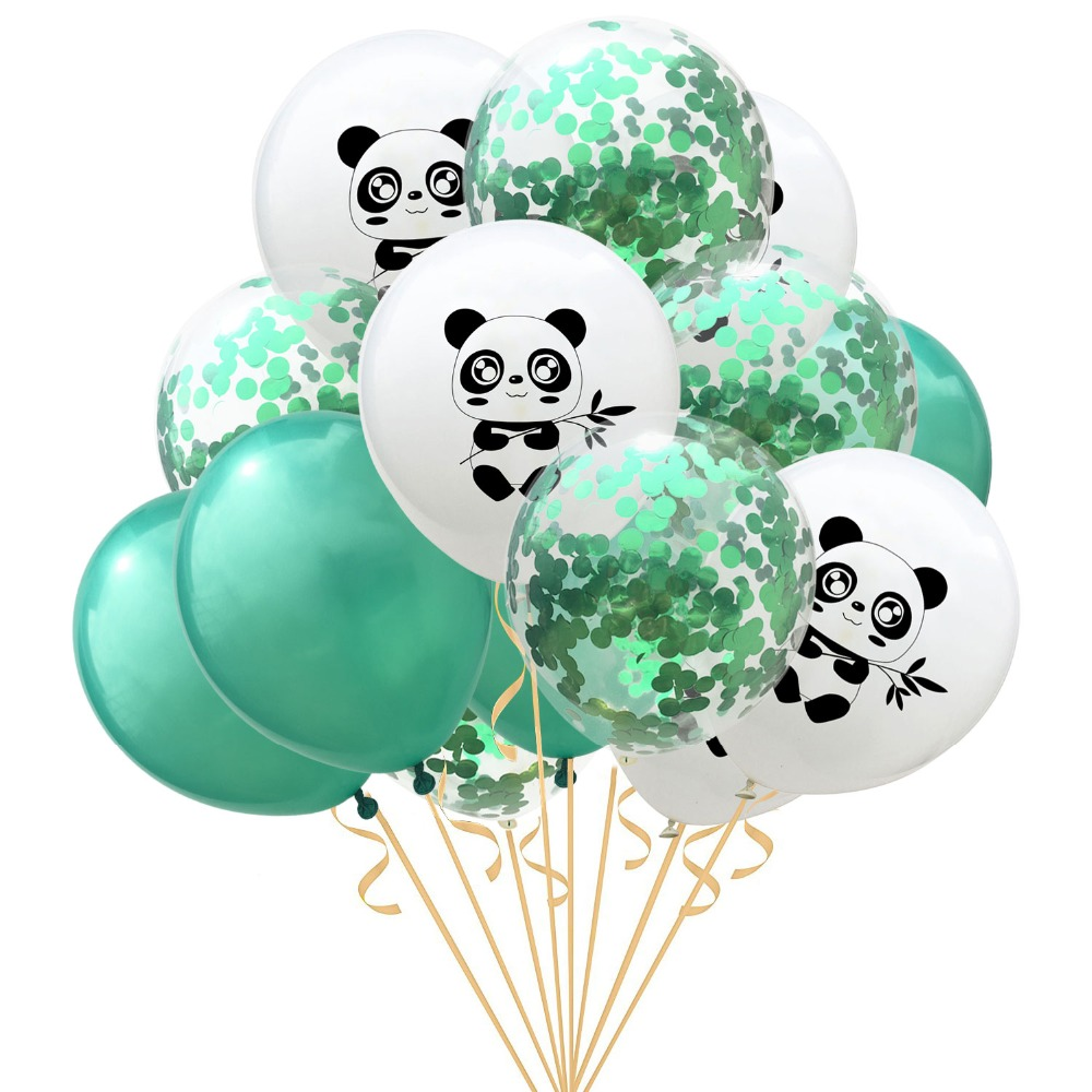 15pcs/lot Panda Balloons With Confetti Balloons Cartoon Panda One Banner Baby 1st Birthday Party Decoration Baby Shower Supplies Grade Products According To Quality Festive & Party Supplies