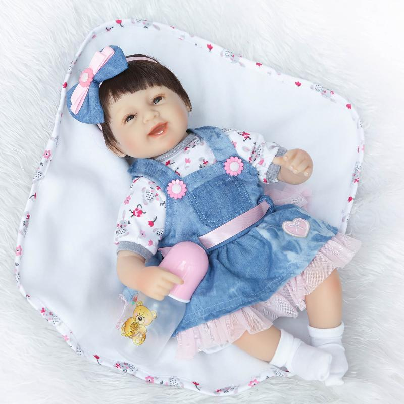 ФОТО 18inch fake baby doll reborn cloth body silicone reborn babies girls toys with Denim skirt children doll gifts bonecas reborn