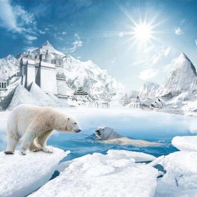 Papel pintado De foto personalizado 3D estéreo Oso Polar nieve ...