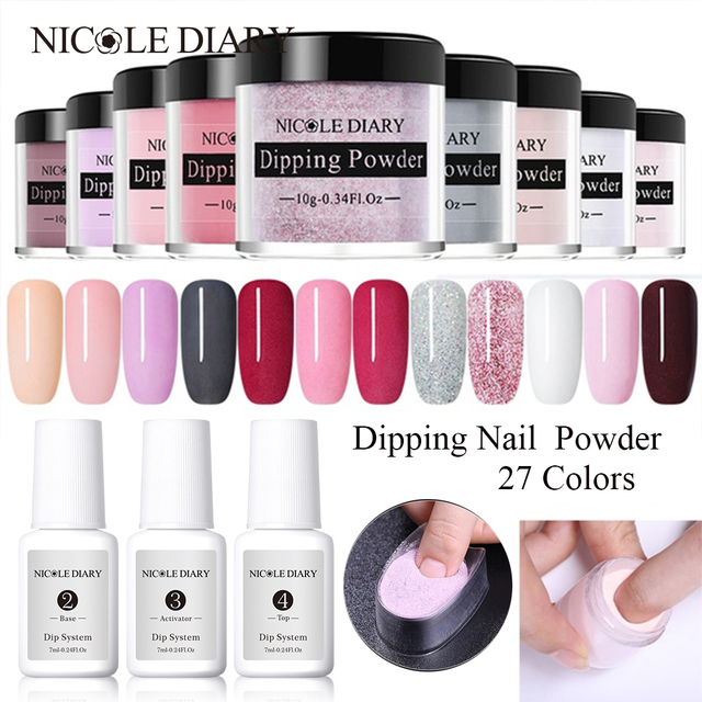 NICOLE DIARY Dipping System Powder Nail Art Dipping Powder Clear Base Top Gel Coat Activator Brush Saver Nail Art Without Lamp