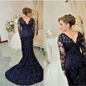 3b4bb8b0f Elegante 2019 azul marino madre sirena de encaje vestidos para la madre de  la novia de manga larga Formal vestido de noche vestido de madrin
