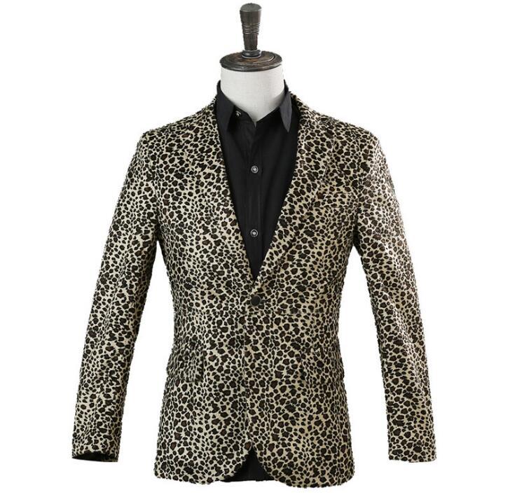Singer star style dance stage clothing jackets men Leopard print suits fashion coat costume blazers mens formal dress yellow мужские кожанные куртки с косой молнией