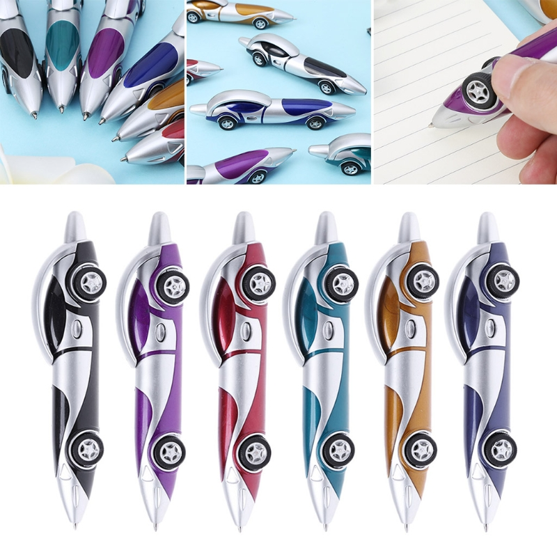 Funny Novelty Design Racing Car Shaped Ballpoint Pen Office Child Kid Toy Gift