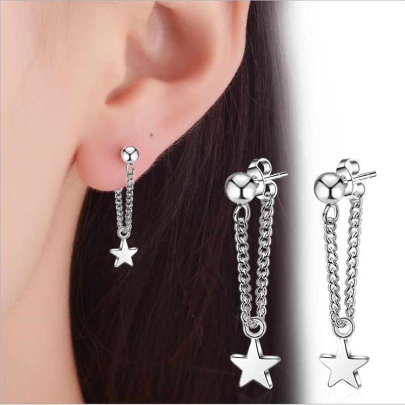 TJP Trendy Silver 925 Stud Earrings For Women Jewelry Fashion Star Stud Earrings Girl Lady Christmas Party Accessories Charm