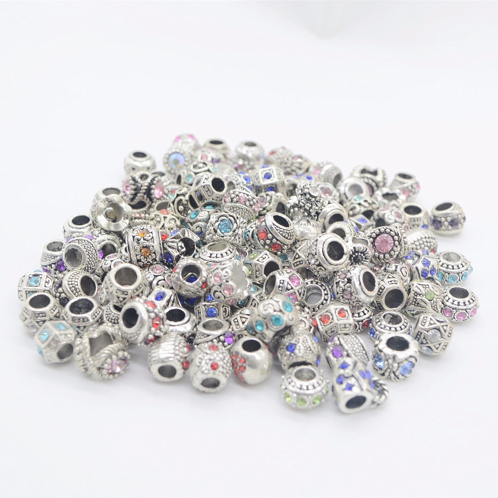 100pcs mixed alloy charms rhinestone big hole beads Fit Pandora Charms Original Bracelet Spacer Charm Beads Jewelry DIY Making