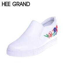 Hee Grand/обувь с вышивкой Женские подъеме белого цвета на платформе модная обувь XWD5941