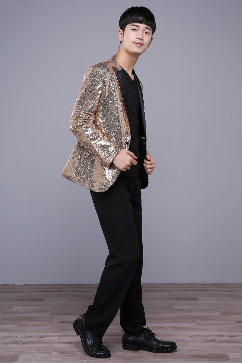 Kostumet e xhaketave për meshkuj të artë Këngëtarja Dancer - Veshje për meshkuj - Foto 4
