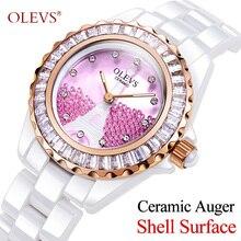 OLEVS Women Watches Top Famous Brand Quartz Luxury Wristwatches Casual Rose Gold Ceramic Female Ladies Watches