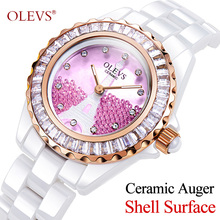 OLEVS Women Watches Top Famous Brand Quartz Luxury Wristwatches Casual Rose Gold Ceramic Female Ladies Watches Relogio Feminino