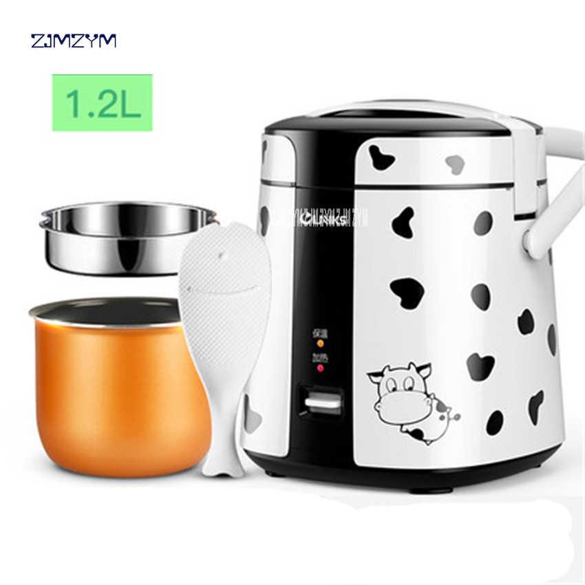 Mini kuchenka do ryżu elektryczne urządzenie do gotowania ryżu Auto kuchenka ryżu z śliczny wzór dla ryżu zupa owsianka gotowane na parze jajko SF168 1.2L pojemność