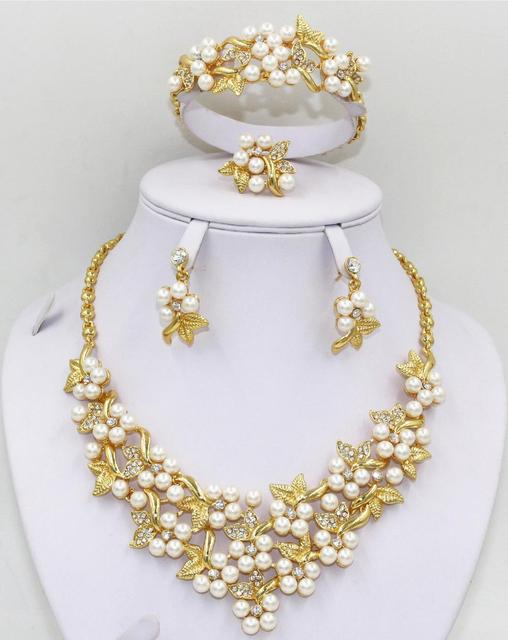 2015 New Classic Imitation Pearl Jewelry Sets 18K Gold Plated Clear Crystal Flower Jewellery for Wedding Bridesmaid Party Gifts
