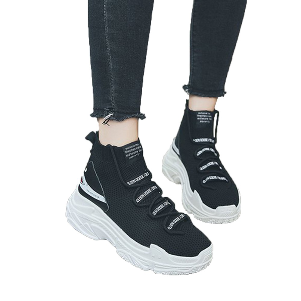 Trend Mark Sock Sneakers Women Running Shoes Height Increasing Sport Shoes Breathable Mesh Ladies Shoes Elastic Zapatillas Mujer Deportiva Underwear & Sleepwears
