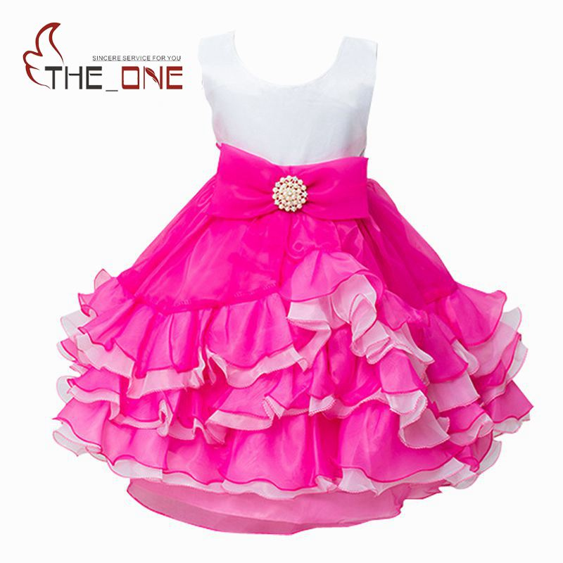 цены  Girls Princess Party Layered Tutu Dress Girl Summer Wedding Dress Children Flower Lace Dresses Baby Kids Clothing Sundress T161