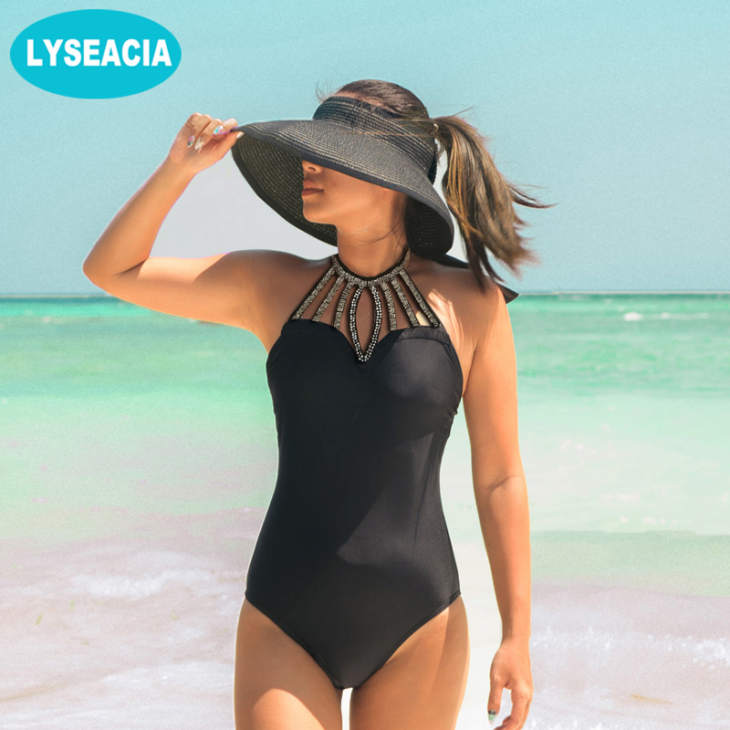 LYSEACIA Sexy Sequins Monokini Swimwear 2018 One Piece Swimsuit Backless Slim Waist Women's Swimming Suit Halter Neck Soft Pads draped halter neck one piece swimwear