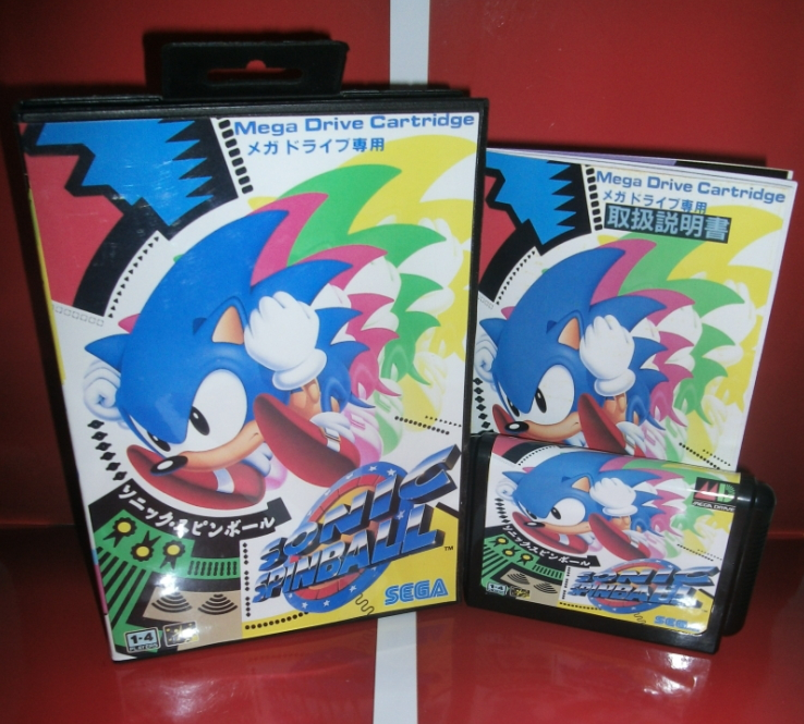 Sonic Spinball - MD Game Cartridge with box and manual for 16 bit Megadrive Genesis console