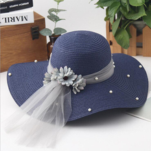Fashion flower woman sun hats foldable wide wave brim hand made straw hat female casual shade woman summer beach cap anti-uv