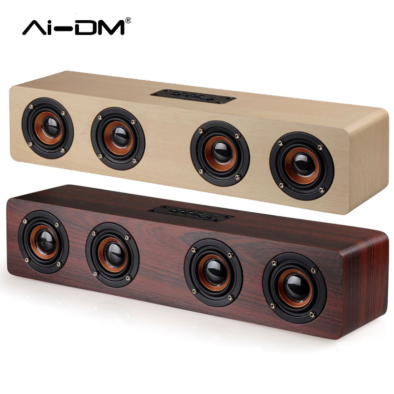 цена AIDM AI Bluetooth Speaker 4 HiFi Subwoofer 2017 Wooden Wireless Music Player Sound Bar TF Card AUX For TV Home Theatre Speakers