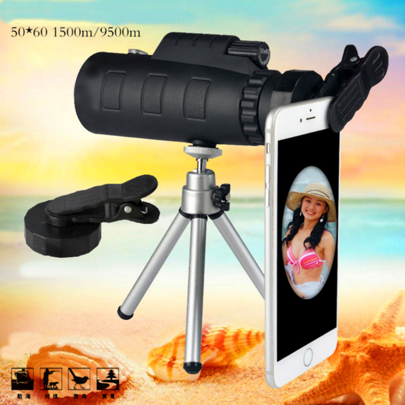 Telescope 50X60 Connect Mobile Photograph Phone for telescope Ultra-clear Quality Light Outdoor Sports Green Film Prism