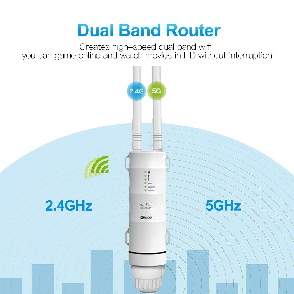 Extérieure répéteur Wi-Fi AC600 Routeur Amplificateur Wi Fi Booster Extérieure AP Wi-Fi Extender WIPS Intempéries 2.4G + 5 GHz Accès point - 3