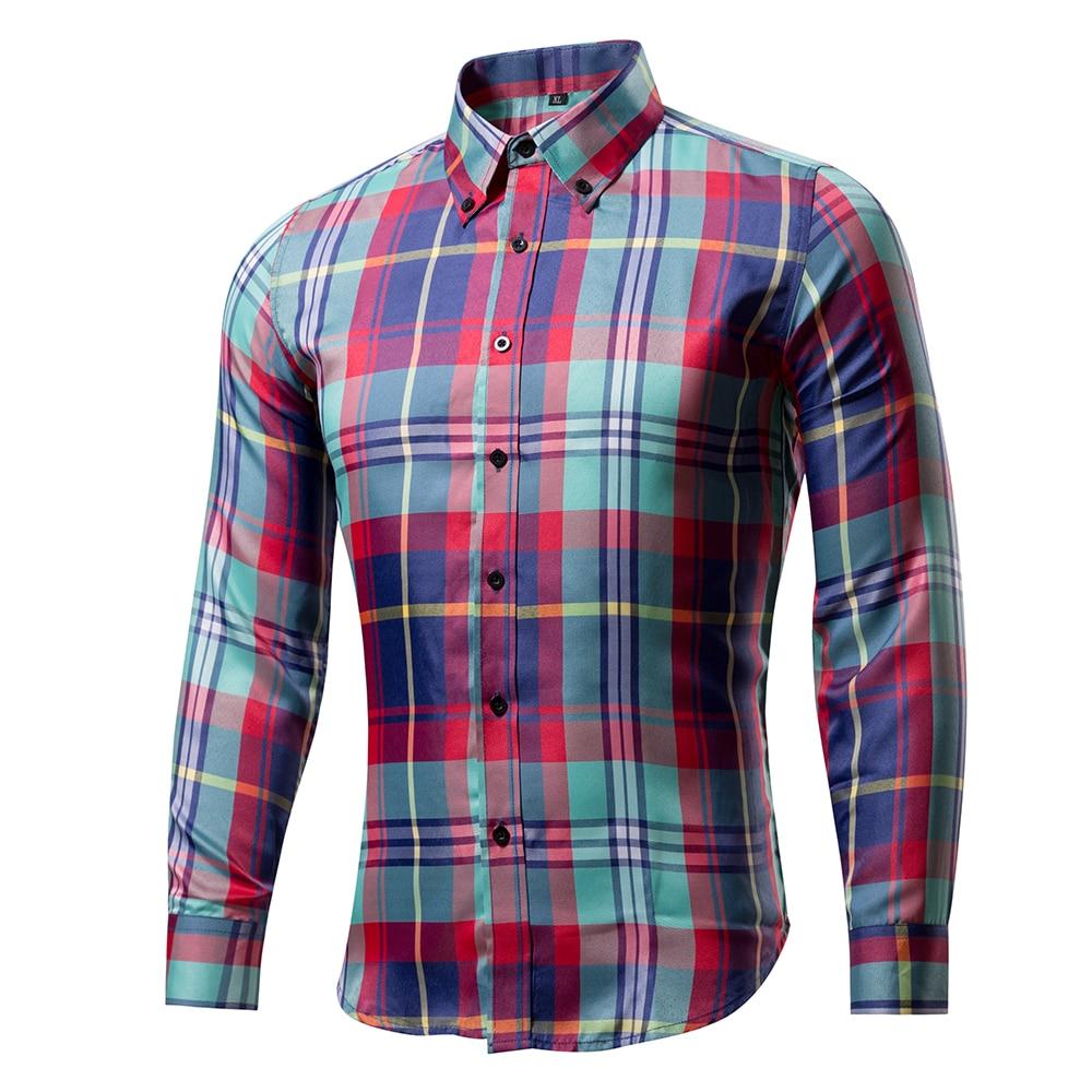 2017 Summer Men Long Sleeve Shirt Plaid Shirt Male Dress