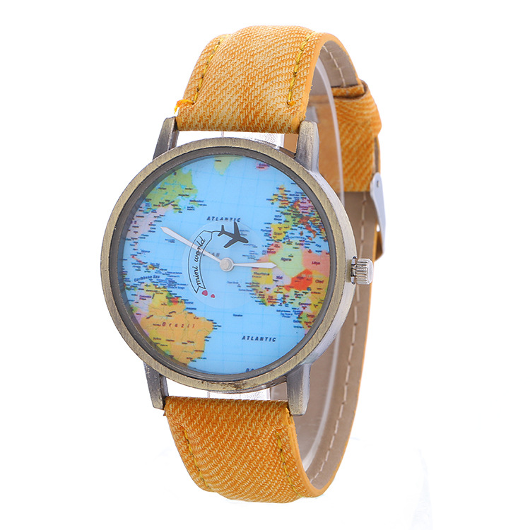 Women Dress Watches Vintage Men Travel By Plane Map Denim Fabric Band Watch Funny Pins Simple Watches Best Gift Reloj Hombre