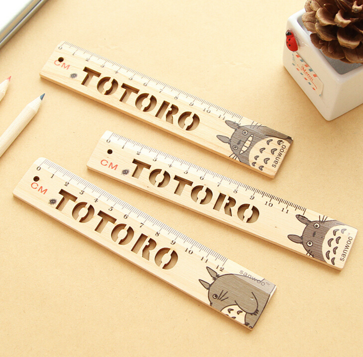 Novelty Hollow Out My Neighbor Totoro Wooden Ruler Measuring Straight Ruler Tool Promotional Gift Stationery Set