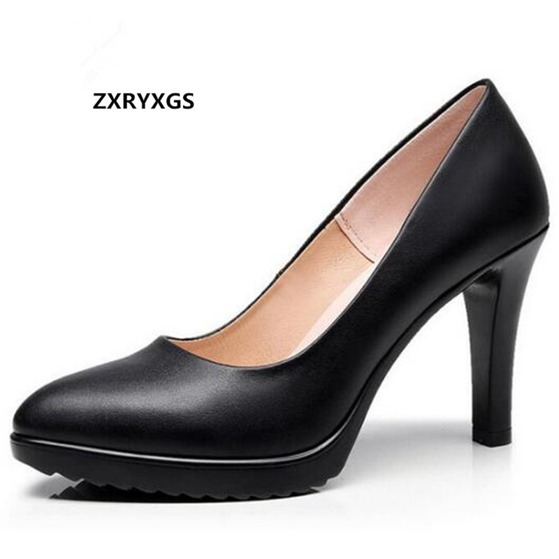 ZXRYXGS Brand Shoes Women Pumps 2019 Spring Pointed Real Leather Shoes High Heels Wedding Shoes Shoes
