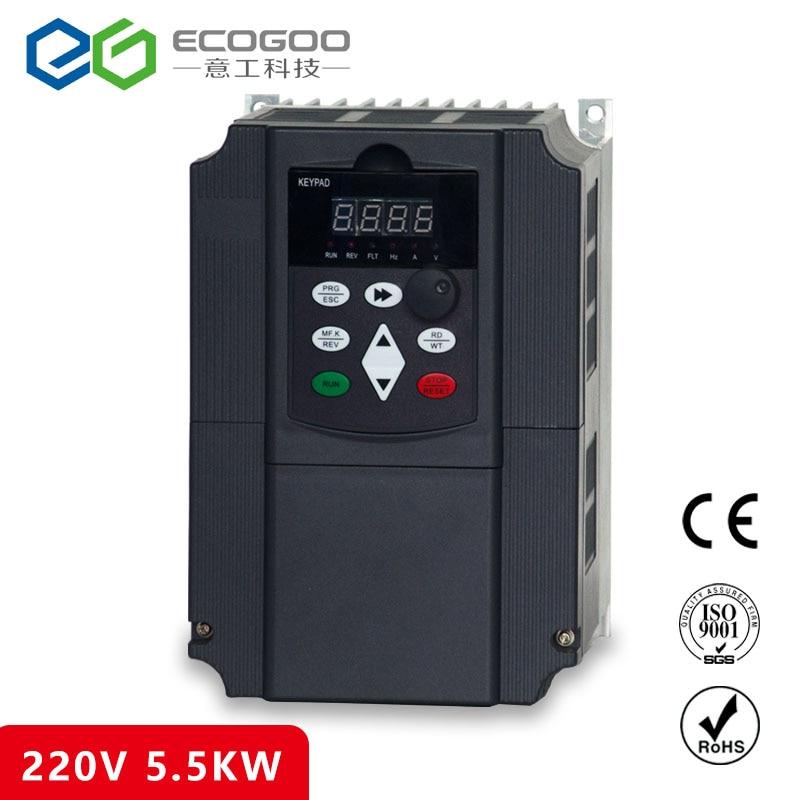 220 v Inversor de Frequência para a Bomba De Água 5.5KW Entrada de Fase Conversor de Frequência Com Ventilador Duplo 1 & 3 Saída Fase unidades AC