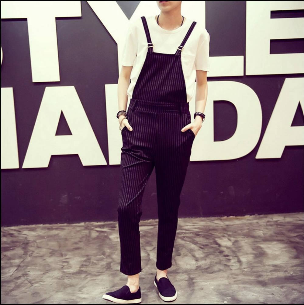 HOT Summer Mens clothing new black striped bib pants pantyhose fashion overalls slacks b ...