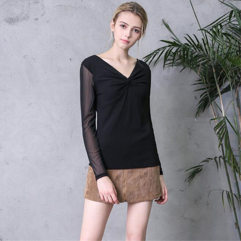 b3eb4c43ff5 YSDNCHI Female New Summer Blouses Sexy Long Sleeved V Neck Long Sleeve Thin  Shirts Perspective Lace Mesh Black Tops Shirt Blouse-in Blouses & Shirts  from ...