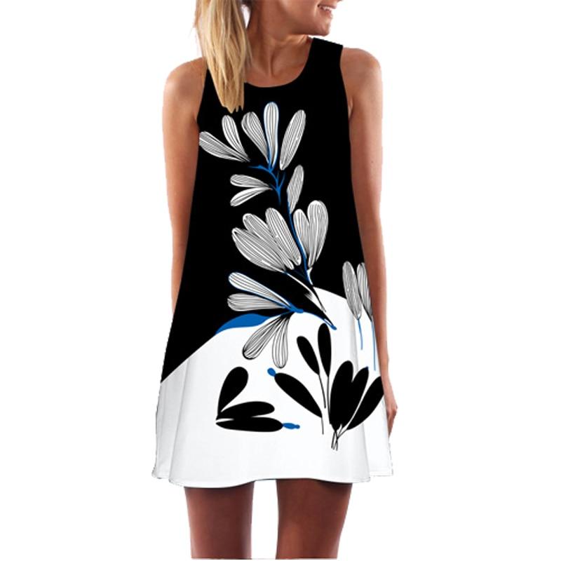 2018 Sommerkleid Frauen Blumendruck Chiffon-kleid Sleeveless Boho Stil Short Strand Kleid Sommerkleid Beiläufiges Etuikleider Vestido